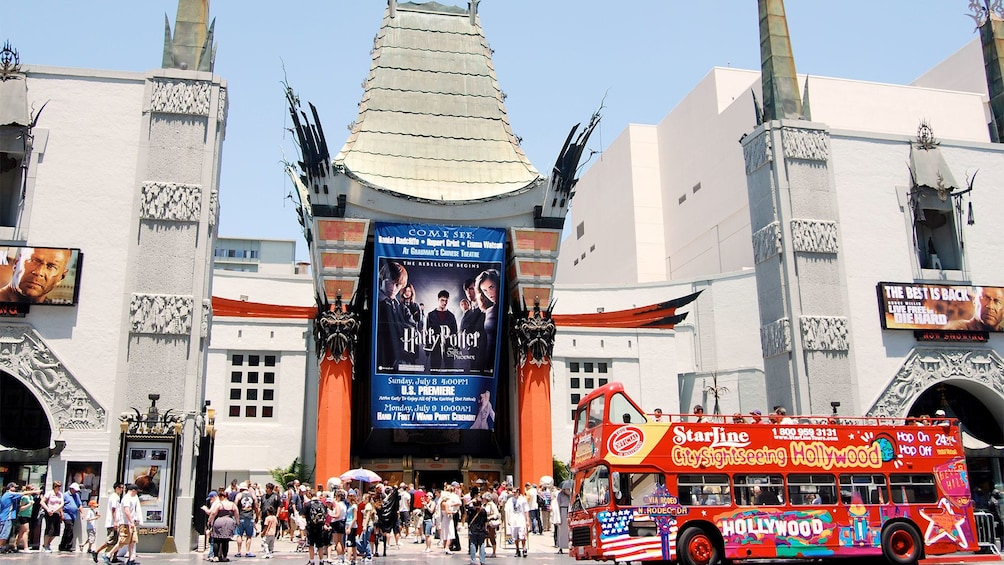 LA Hop-on Hop-off tour in front of the Chinese Theater
