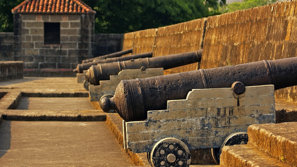 Show item 4 of 5. cannons lined up on wall