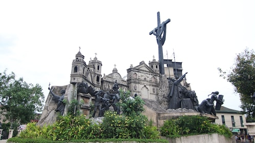 Sculpture outside of 18th century buildings in Cebu