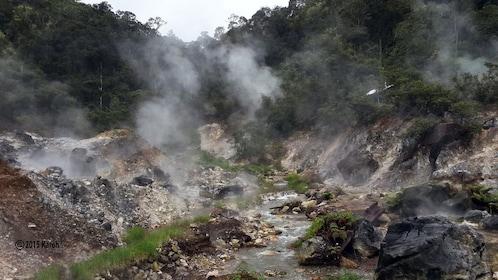 Volcanic stream next to stream