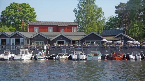 docked motorboats in Stockholm