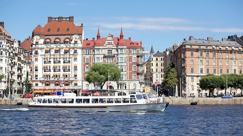 a tour boat out in the waters in Stockholm