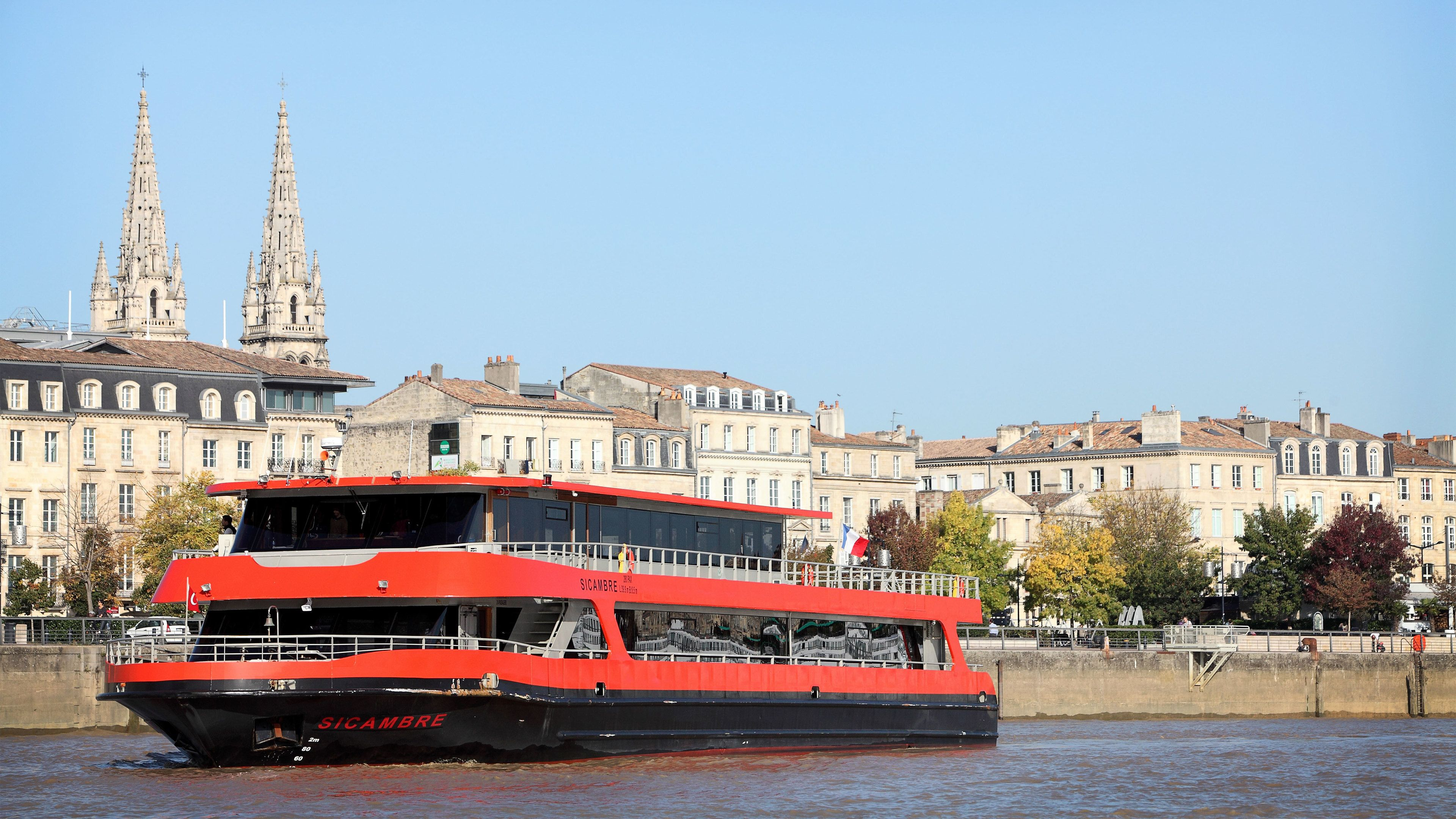 Boat with city in the background in Bordeaux