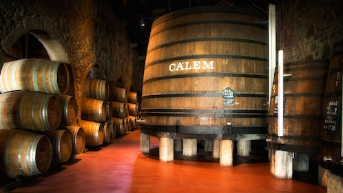 calem barrels in room with red floor
