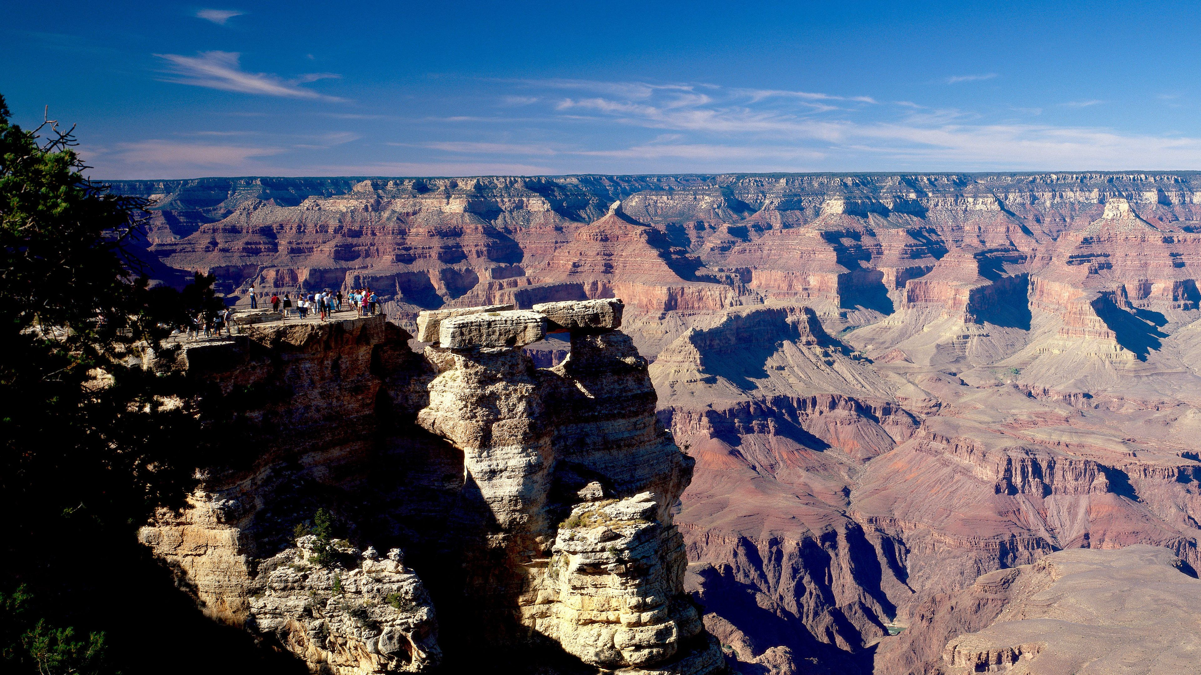 People at a lookout point on the edge of the Grand Canyon