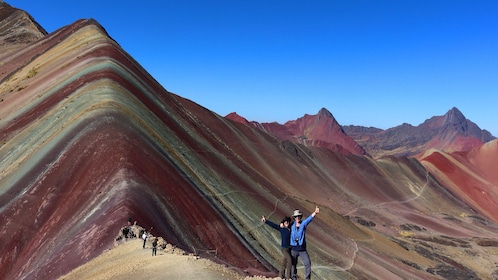 Hikers at Rainbow Mountain in Lima