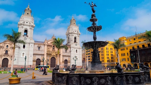 Fountain and cathedral in Lima