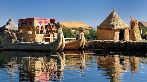Reed boat and floating island in Peru
