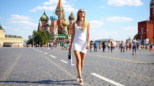 Woman walking in Red Square in Moscow