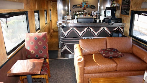 Chairs and bar on a train in Sedona