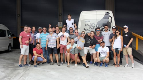 Tour group with van in Sydney