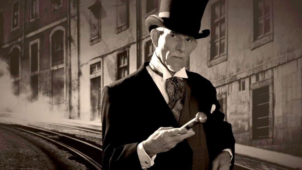 Show item 1 of 4. Man in top hat on Sydney street