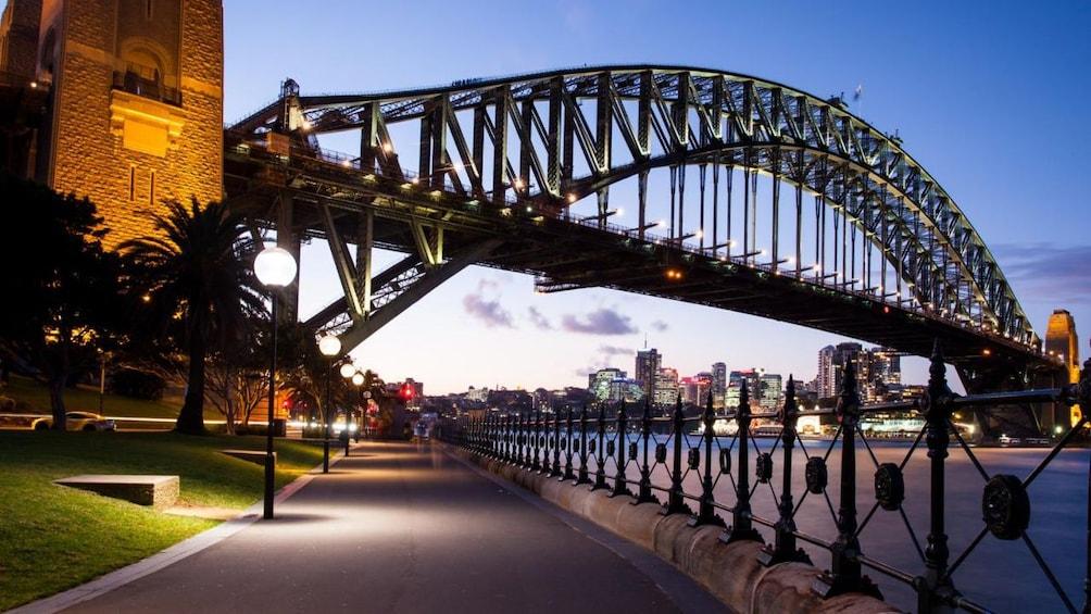 Show item 3 of 4. Sydney harbor bridge at night