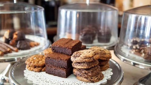 Trays of cookies, brownies and other chocolate treats at a bakery in New York