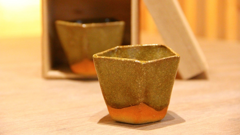 Tea cup made at the Japanese Pottery Making Experience in Omotesando