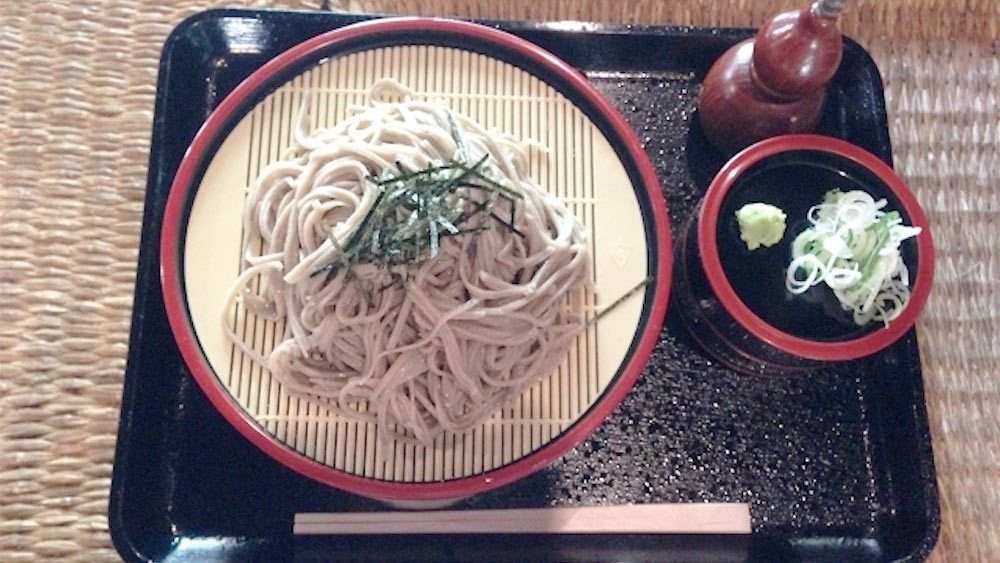 Plate of freshly made soba in Tokyo