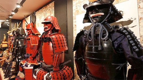 View of many armors on the Samurai Armor Wearing tour in Tokyo, Japan