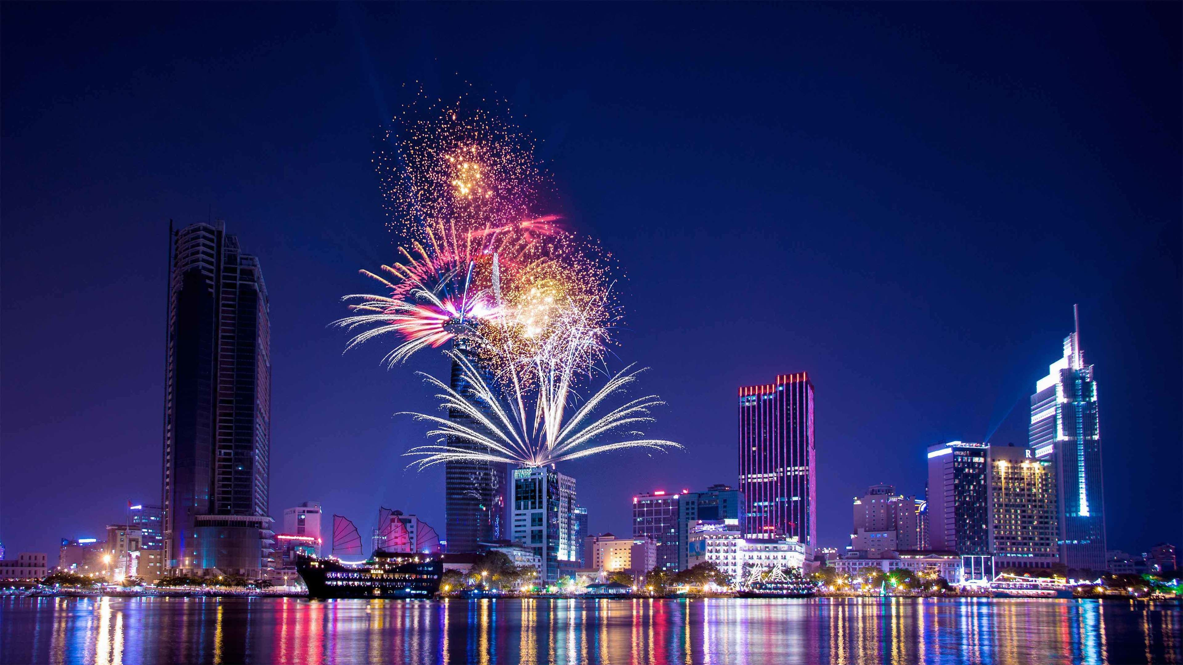 View of stunning fireworks from the Saigon Skydeck-Bitexco Financial Tower in Ho Chi Minh City
