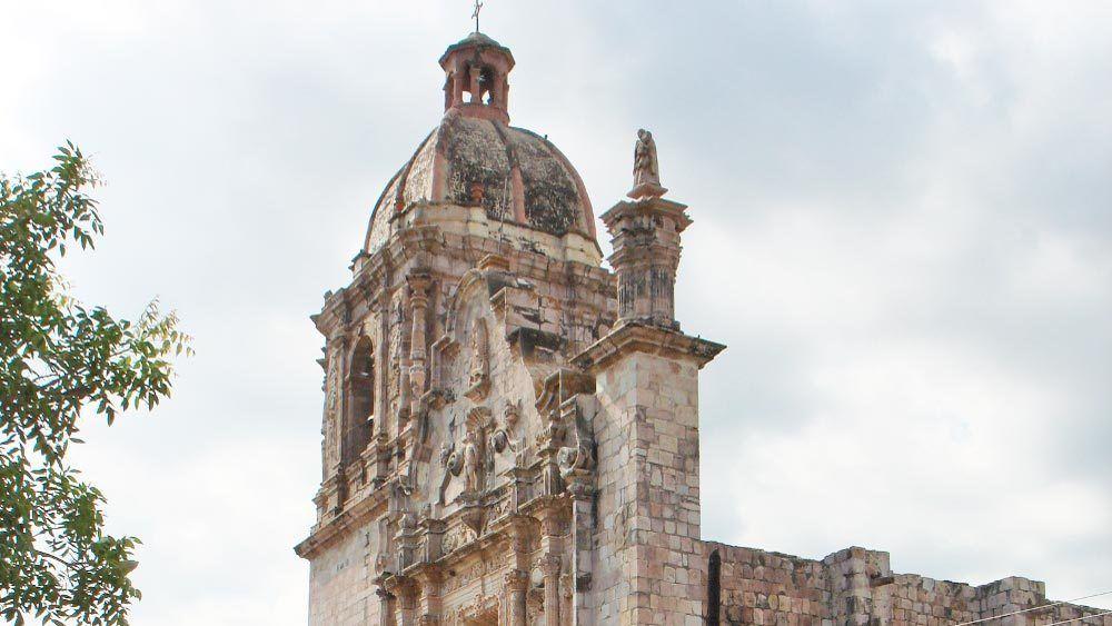 close view of the colonial church of saint sebastian
