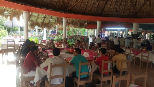 A table full of people eating a meal in Mexico