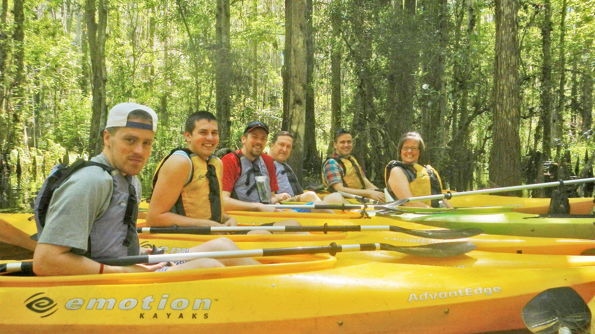 Group in their kayaks on the Kayak Adventure Tour in Orlando