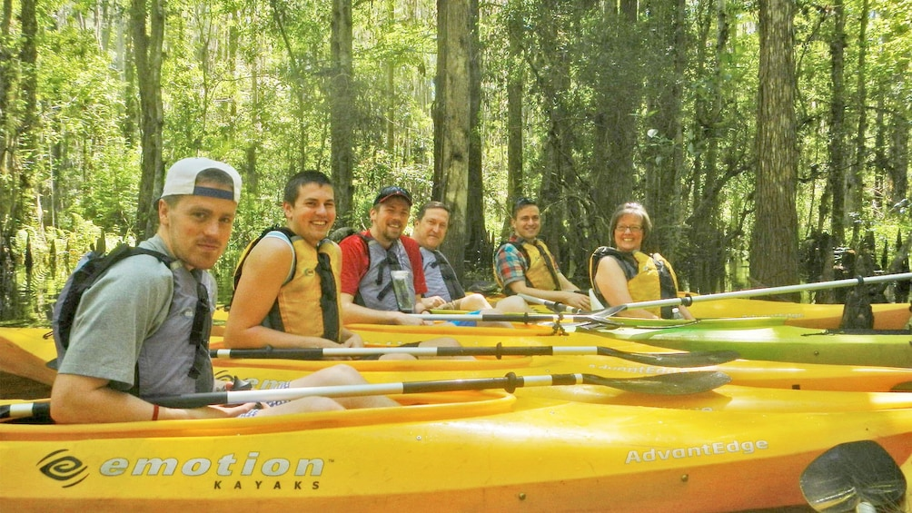 Show item 3 of 5. Group in their kayaks on the Kayak Adventure Tour in Orlando