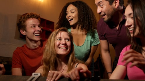 Group playing a room escape game in Salt Lake Valley