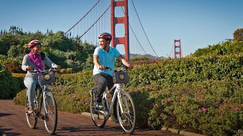 bicyclists near the golden gate bridge in san francisco