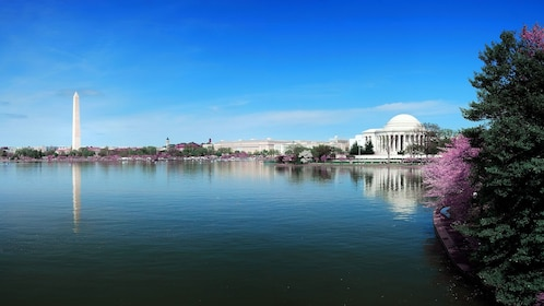 View of the Jefferson Memorial and Washington Monument from the water in Washington DC