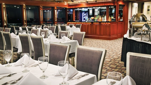 Interior dining on a cruise boat in Washington DC