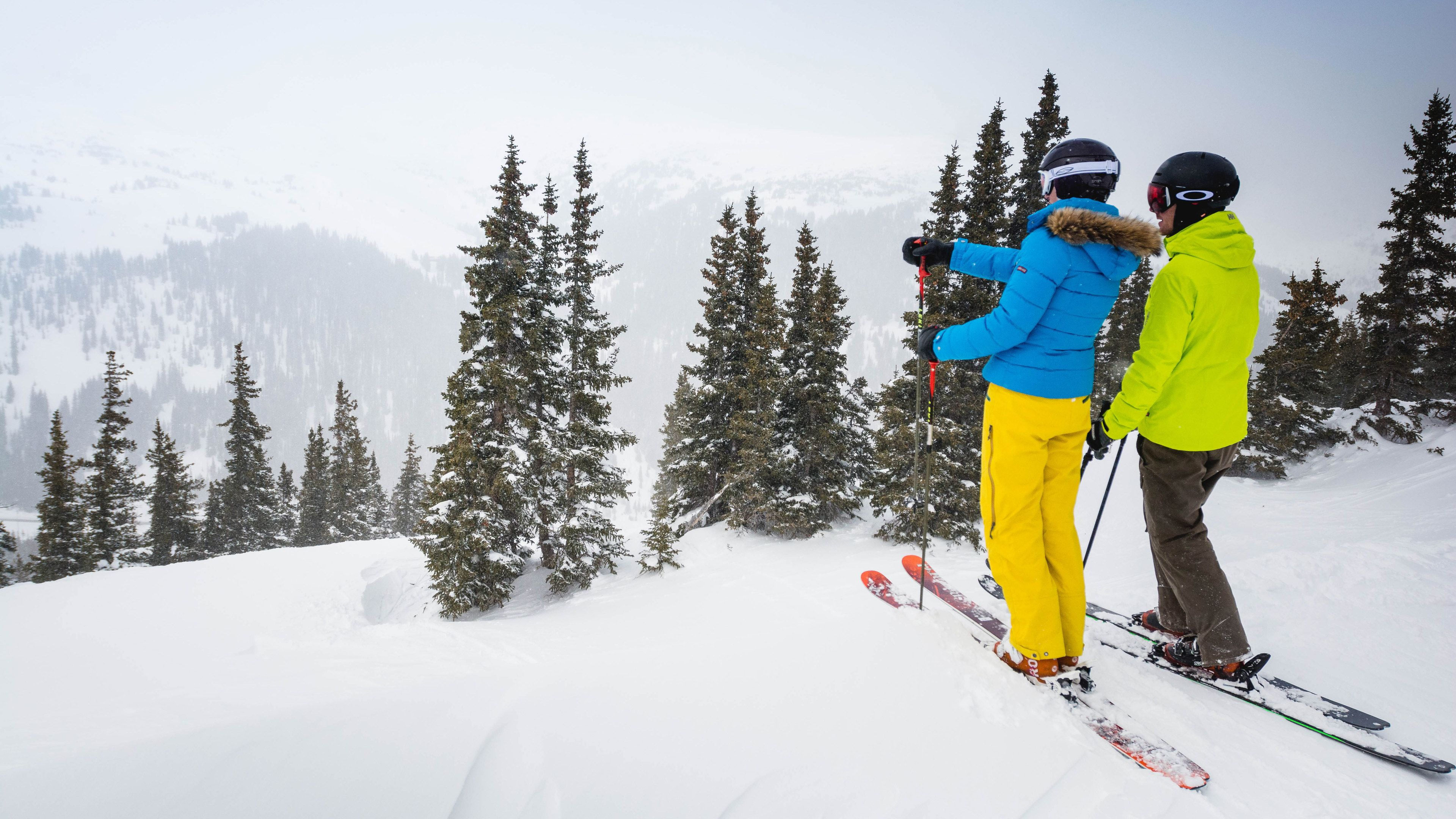 Couple getting ready to ski in Colorado