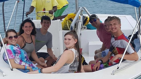 A boat full of people in the Bahamas