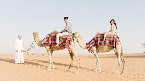 Couple on camels in Dubai
