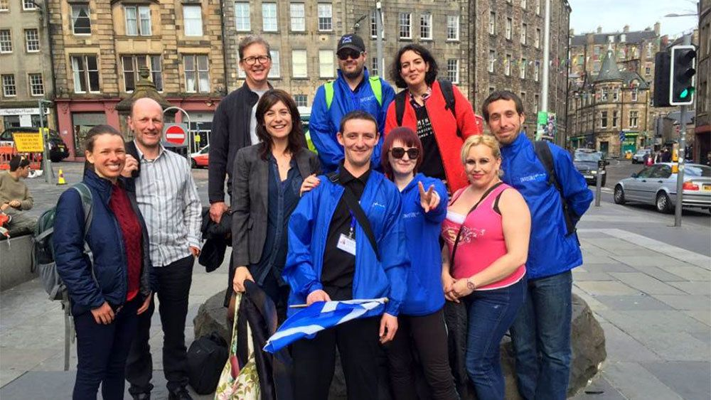 Tour group and guide in Edinburgh
