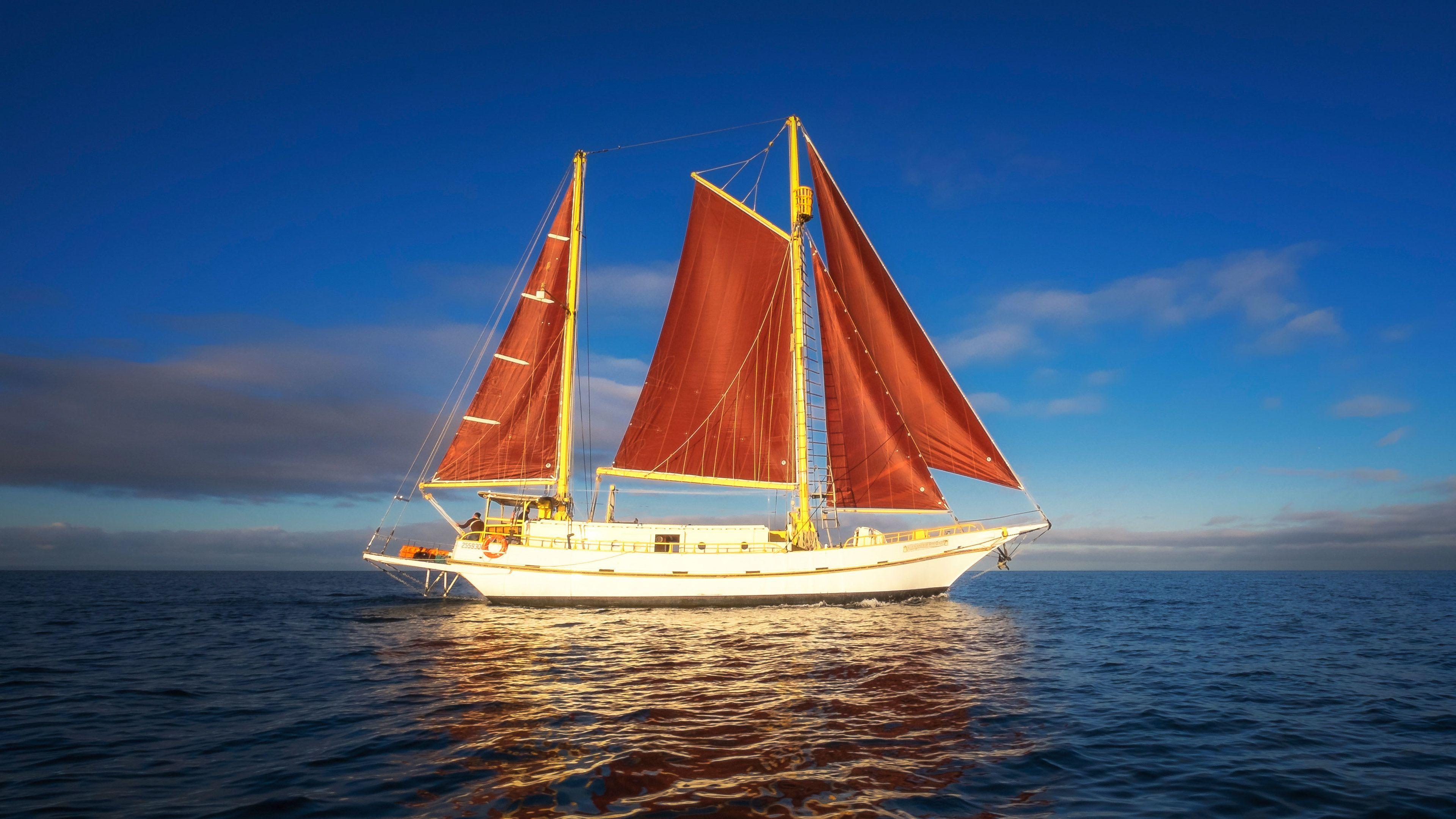 A sailboat on the high seas
