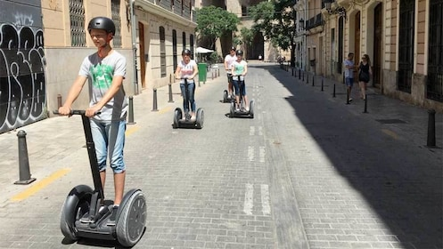 View of a group on the Valencia Long Segway Night Tour