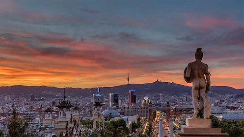 Sunset view of Barcelona