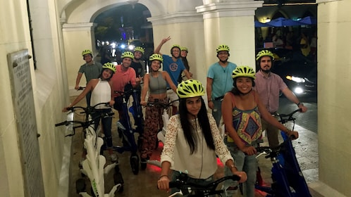 Bicycling group at night in Santo Domingo