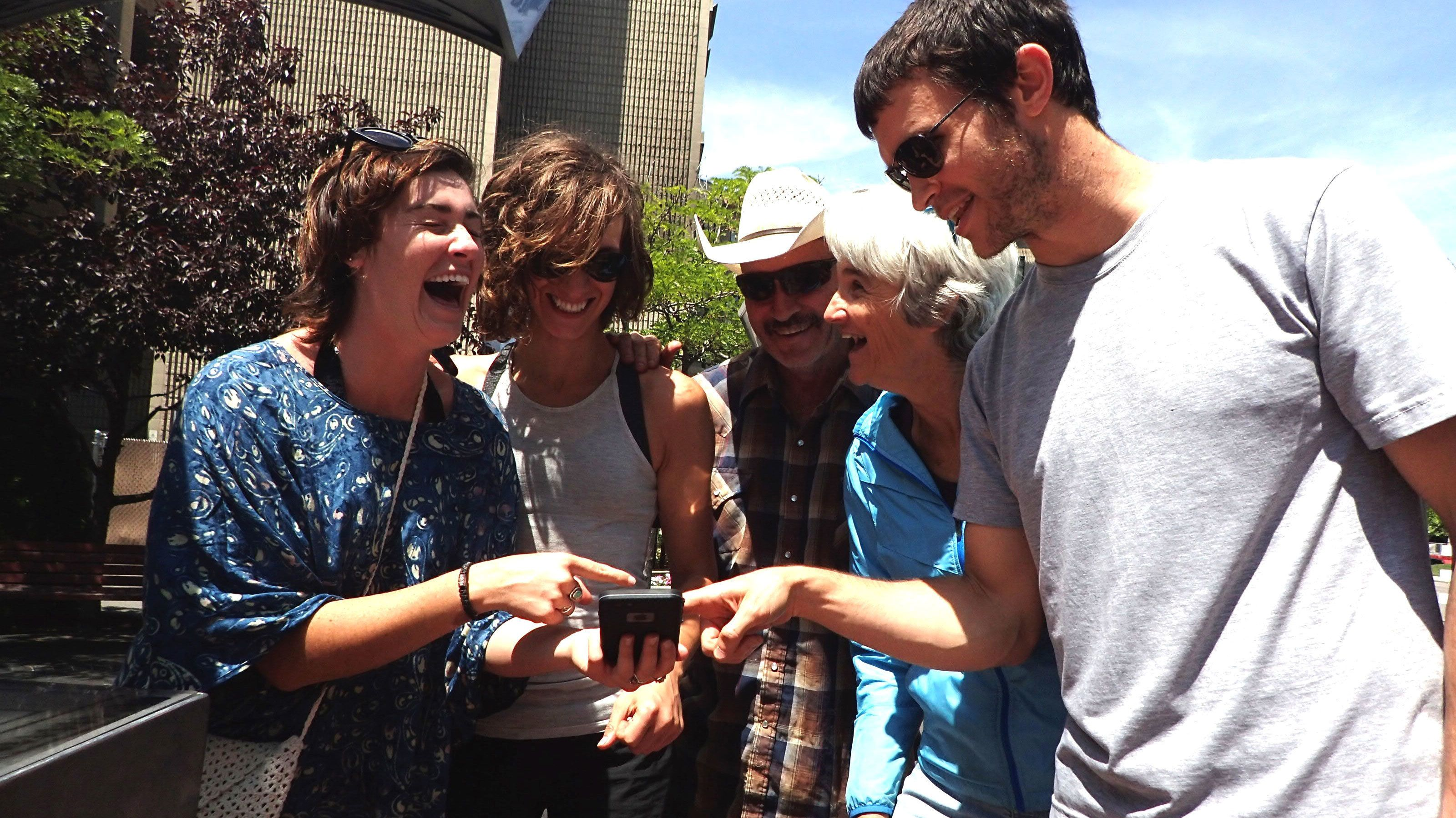 Laughing group on a scavenger hunt in Boise