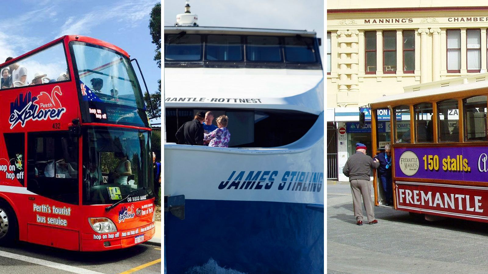 Combo Pass: Perth Hop-On Hop-Off Bus, Swan River Cruise & Fremantle Tram