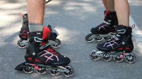 Close-up of rollerblades for rent in New York