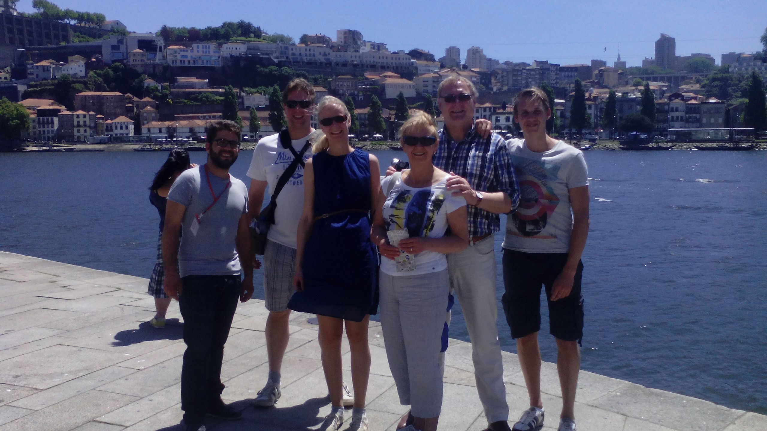 Portugal tour group next to water