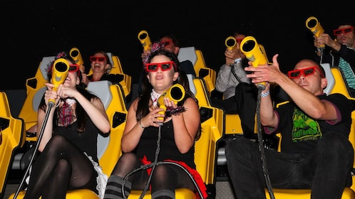 Group in a theater with laser guns in San Francisco