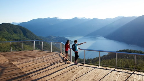 Two people at a scenic vista in British Colombia