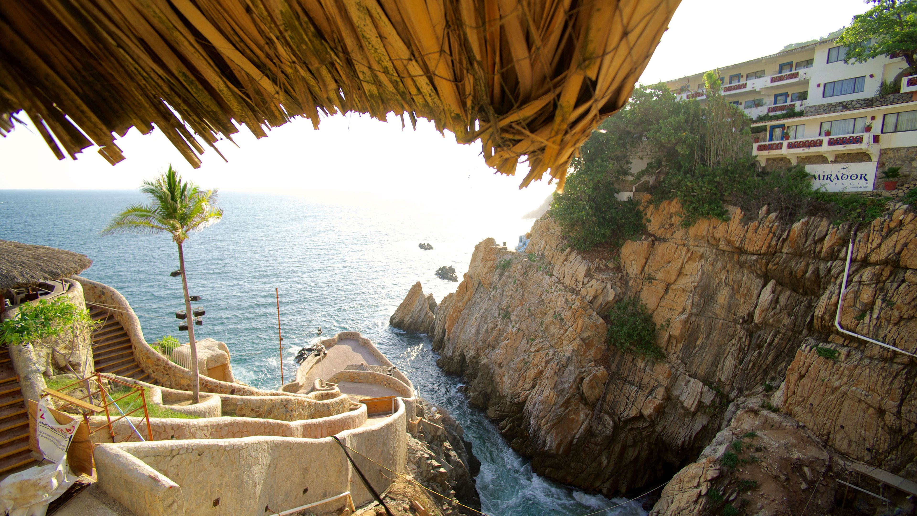 View from restaurant overlooking cliffs in Acapulco