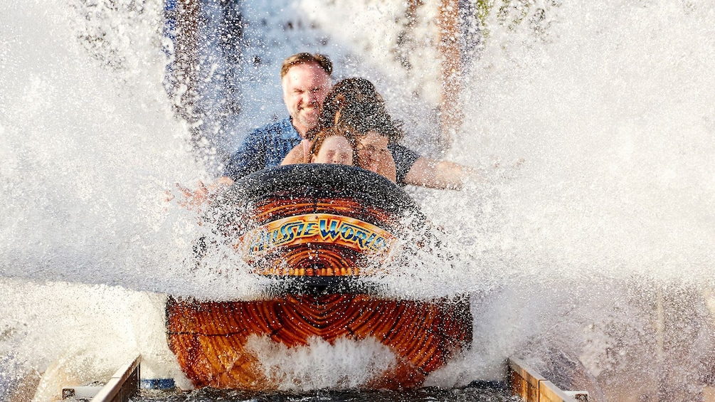 Show item 2 of 10. Family on a log flume ride at Aussie World in Sunshine Coast