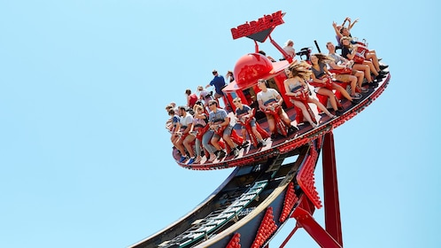 People high in the air on a ride at Aussie World