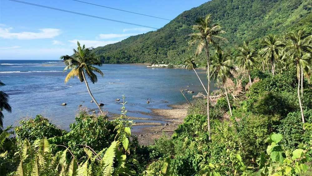 Sunny view of the Forgotten Bay in Samoa