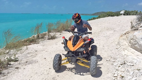 View of a guest on the Off Road Express Safari in Turks and Caicos