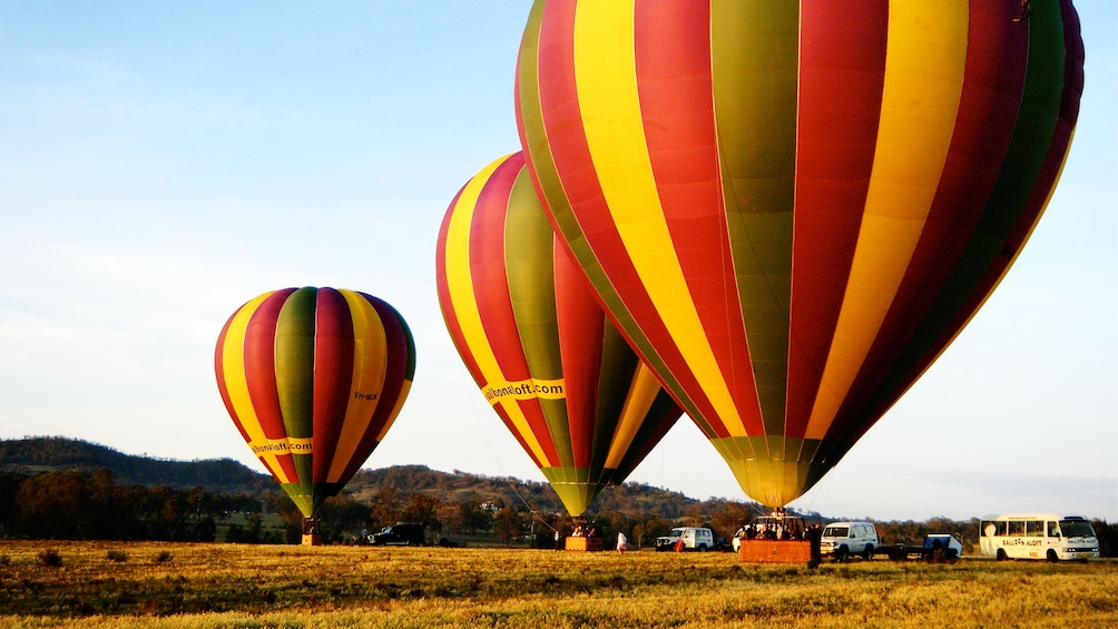 three inflated hot air balloons in Hunter Valley